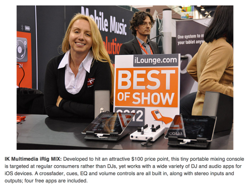 Starr Ackerman representing IK Multimedia's iRig MIx for Best of Show - iLounge CES 2012