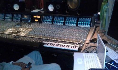 Eric Parker's IK Multimedia iRig KEYS MIDI controller on top of a million dollar recording console.