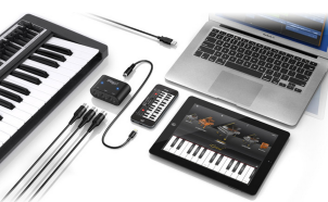 Attach at computer, iPhone, iPad, iPod touch, external MIDI controller keyboard, etc to make music with your mobile device or computer.
