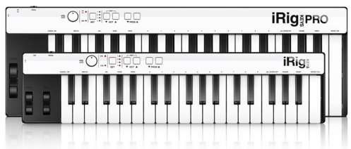 iRig KEYS and iRig KEYS PRO from IK Multimedia, affordable mobile MIDI controllers with USB, 30-Pin and Lightning adapters.