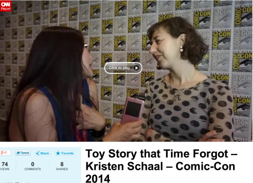 Joyce Chow interviewing at Comic Con using her iPhone and IK Multimedia's iRig Mic Cast.